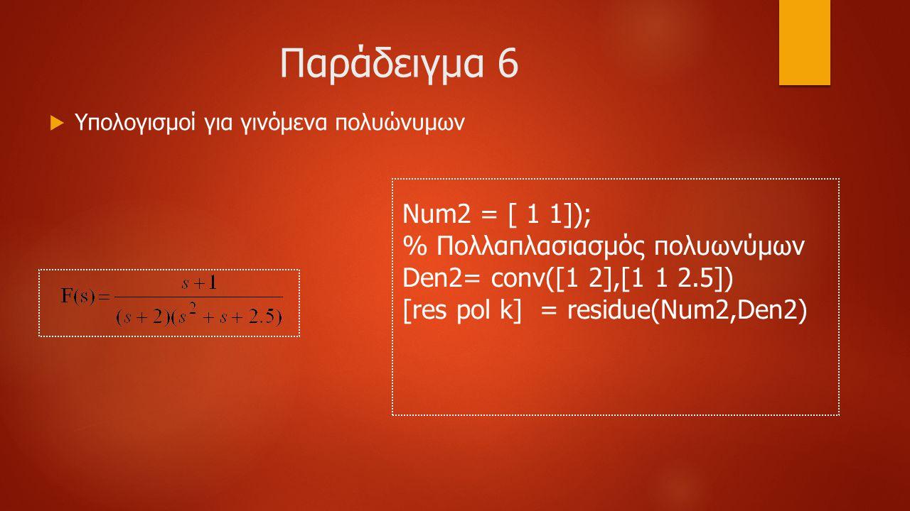 Παράδειγμα 6 Num2 = [ 1 1]); % Πολλαπλασιασμός πολυωνύμων